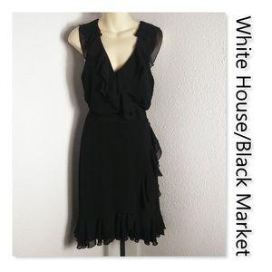 White House/Black Market Black Size 8 Ruffles Midi